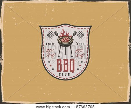 BBQ club typography poster template in retro old style. Offset and letterpress design. Letter press label, emblem. Isolated on yellow scratched background.
