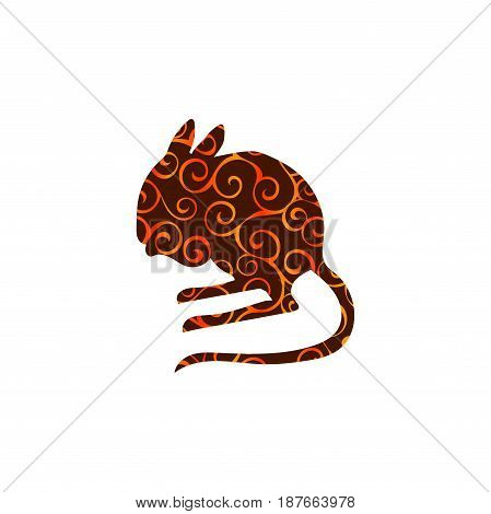 Jerboa rodent mammal color silhouette animal. Vector Illustrator.