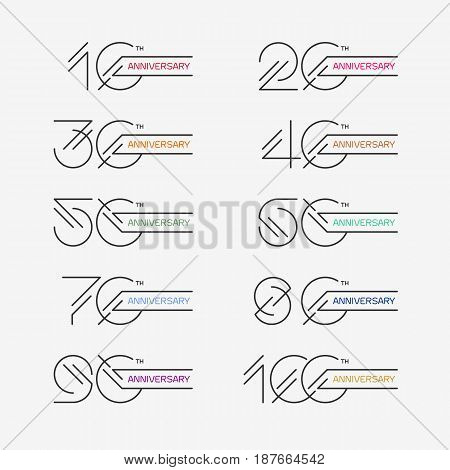 Set of anniversary signs from 10th to 100th. Stock vector illustration. Design elements in modern outline style.