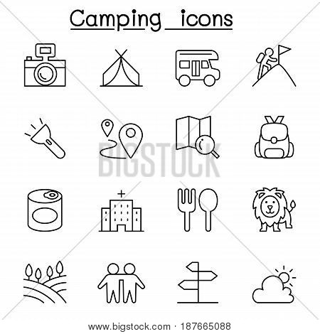 Camping & Hiking icon set in thin line style