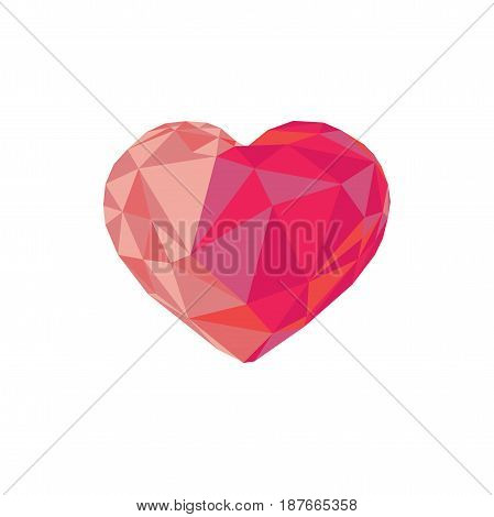 Low poly red crystal bright heart. Good for Valentine s day gifts packs wallpaper invitations.