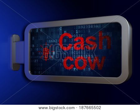 Business concept: Cash Cow and Energy Saving Lamp on advertising billboard background, 3D rendering