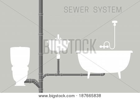 Sewer system with pipes and silhouettes of toilet, bath and sink. Vector banner of engineering sewer pipes system.