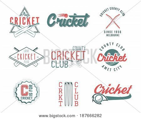 Set of retro cricket sports template logo designs. Use as icons, badges, label, emblems or print. Vector illustration sport championship. Isolated on white background.