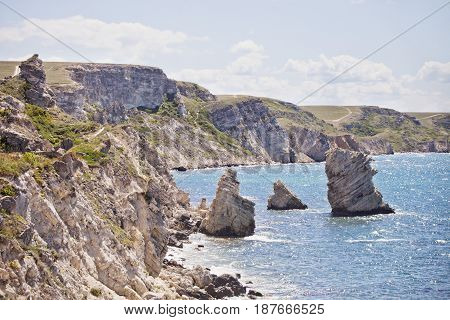Cape Tarhankut, Rocks Dzhangul, Crimea. Black Sea Landscape