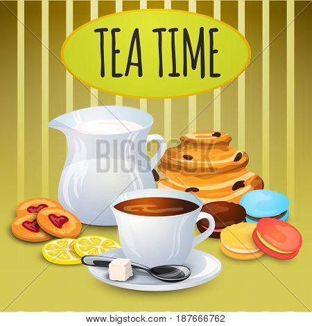 Illustration collection tea with milk pot and sweets for bakery decoration