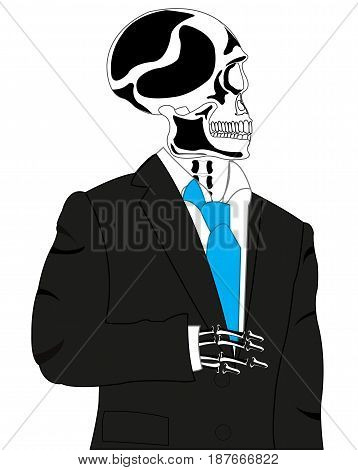 Skeleton of the person in black suit on white background