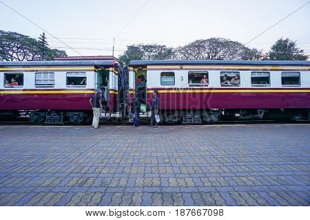 people ride on train taken in Huahin Thailand on 12 April 2017