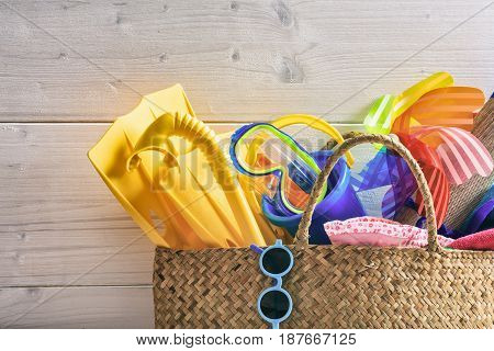 Children Summer Vacation Concept On White Background - Copy Space