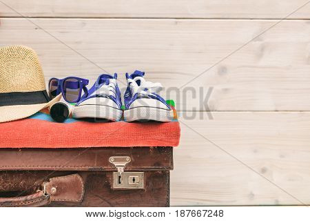 Summer Vacation Preparation On White Background - Copy Space
