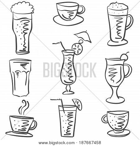 Collection stock drink various doodles vector illustration
