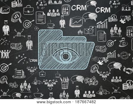 Finance concept: Chalk Blue Folder With Eye icon on School board background with  Hand Drawn Business Icons, School Board