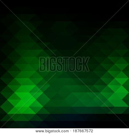 Glowing Neon Green Rows Of Triangles Background, Square