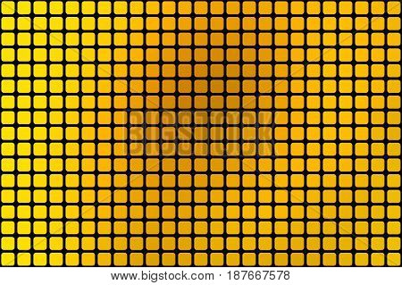 Bright Golden Yellow Abstract Rounded Mosaic Background Over Black