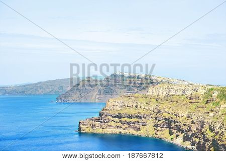 View of the sea and the ship from high coast of the island of Santorini Greece