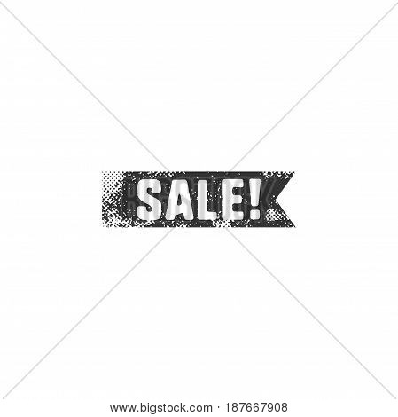 Vintage hand drawn black sale ribbon in retro letterpress style. Isolated on white background. Discount, special offer sign. Vector illustration