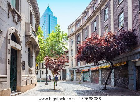 SANTIAGO CHILE - OCTOBER 23 2016: Street of Barrio Paris-Londres neighborhood. This european style area includes shops hotels and cobble stone streets with renovated historic mansions.