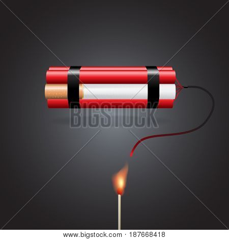 World no tobacco day, a concept for stop smoking. Smoking a cigarette like a bomb explosive that kill all life around. Vector illustration.