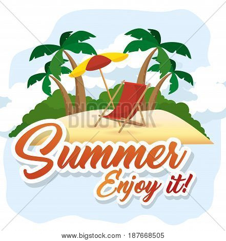 Beach with umbrella, deck chair and summer sign over white background Vector illustration.