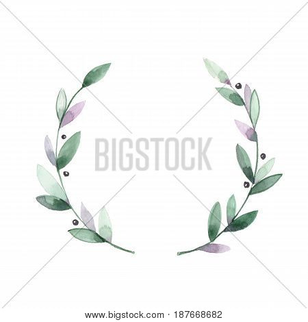Watercolor floral wreath. Hand drawn element for design. Round frame