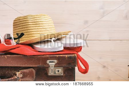 Summer Vacation Concept On White Background - Copy Space