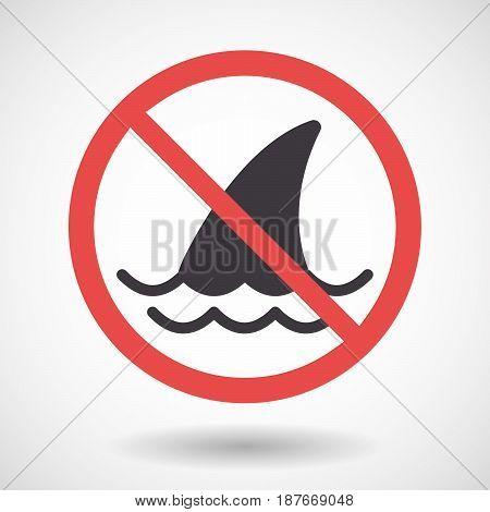 Isolated Forbidden Signal With A Shark Fin