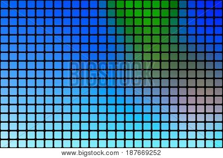 Blue Green Red Abstract Rounded Mosaic Background Over Black