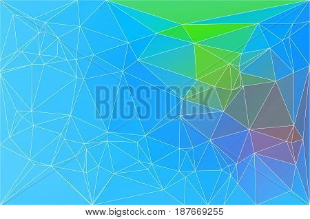 Blue Green Red Geometric Background With Mesh.