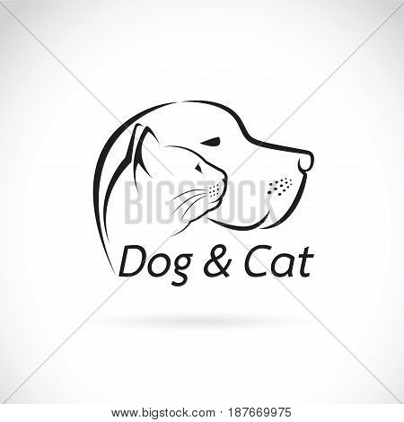 Vector of a dog and cat on white background. Pet.