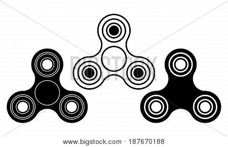 Hand fidget spinner toy iconset - stress and anxiety relief.