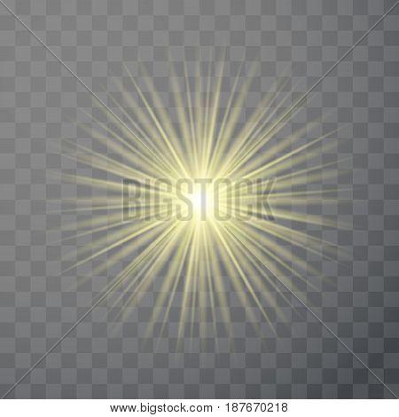 Bright light flare flash effect template isolated. Solar ray sunburst transparent illuminated decoration. Vector illustration