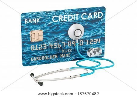 Credit card and stethoscope financial aid concept. 3D rendering isolated on white background