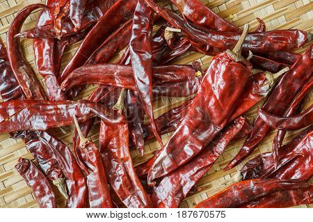 Top View Of Dry Red Chili On Bamboo Basket