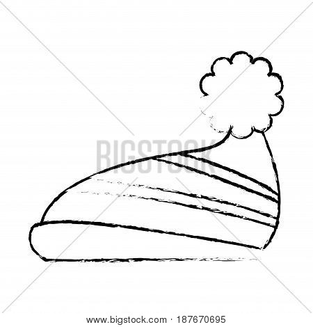 winter knitted hat with pompon, sketch style winter accessory vector illustration