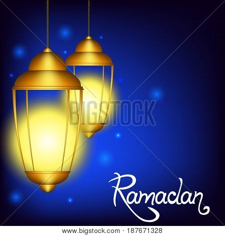 Vector illustration for the Muslim holiday of Ramadan. Islamic old lamp with the inscription.