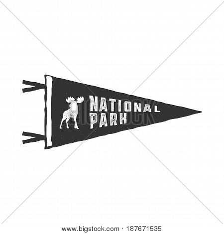 Vintage hand drawn pennant template. Camping sign. Retro textured, letterpress effect. Outdoor adventure style. Vector isolated on white background. National park sign and moose.
