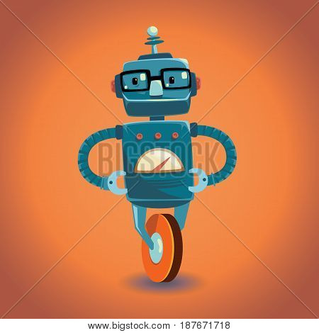 Smart funny robot with glasses on wheel. Vector illustration.