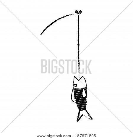 fishing rod and fish fresh food image vector illustration