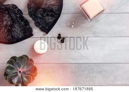 Woman beauty and fashion blogger flat lay on gray background. Copy space for text. Social media blogging concept