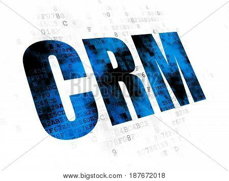 Finance concept: Pixelated blue text CRM on Digital background