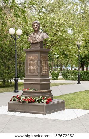 ASTRAKHAN - MAY 13: Monument of tatar poet hero of the Soviet Union Musa Mostafa Dzhalil 1906-1944. May 13 2017 in Astrakhan Russia.