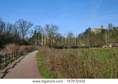 The bicycle path of the Lambro valley in Brianza (Monza Lombardy Italy) in March (late winter)