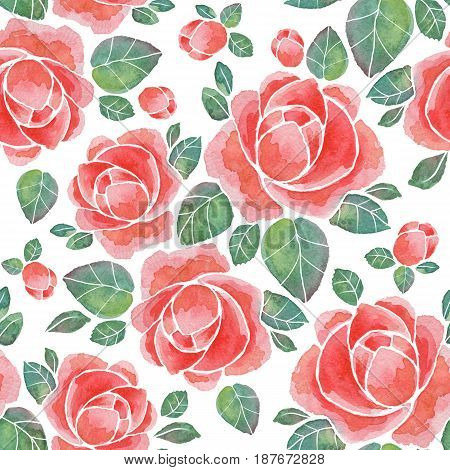 Floral seamless pattern. Watercolor background with red flowers