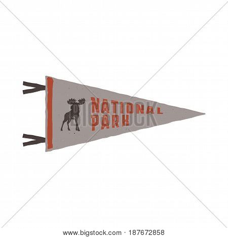 Vintage hand drawn pennant template. Camping sign. Retro textured, letterpress effect. Outdoor adventure retro palette style. Vector isolated on white background. National park sign and moose.