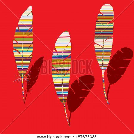 Three abstract feathers with colorful stripes and red background