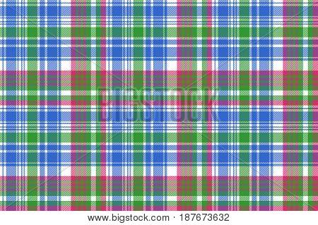 Green blue check tartan plaid seamless pattern. Vector illustration.