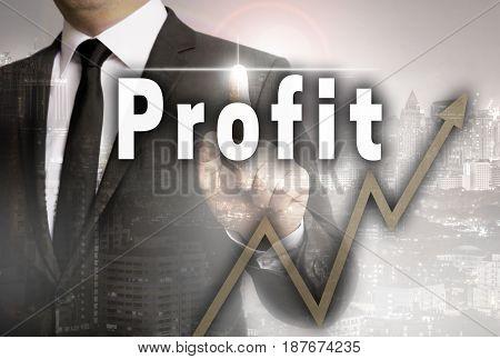 Profit is shown by businessman concept background