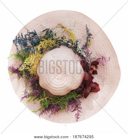 pink hat with burgundy orchid isolated on white background