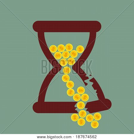 Time is money. Broken Hourglass with gold coins. vector illustration.