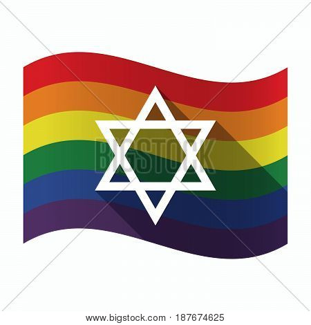 Isolated Gay Pride Flag With A David Star